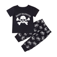 Wholesale cool baby clothes for sale - Mikrdoo Fashion Kids Clothes Suit Newborn Baby Bandits Black T Shirt Pants Sets Cotton Skull Boys Tops Cool Clothing Outfits