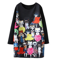 Wholesale Women Winter Work Dresses - Women Spring Dress 2016 New Fashion Black Cute Cartoon Cat Printed Long Sleeved Dresses Straight Dress Plus Size L-4XL Vestidos