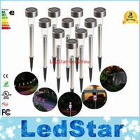 Wholesale Led Colored Lamps - New LED Solar Lights Led Lawn Light Stainless Garden Outdoor Sun Light Corridor Lamp Outdoor Garden Lamp Solar Powered Colored Solar Lamps