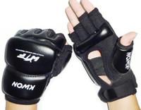 luvas de boxeo boxeo venda por atacado-Luvas de boxe luvas de boxe de couro meia dedo sanda karate saco de areia taekwondo protetor para boxeo mma muay thai kick boxing gyd21