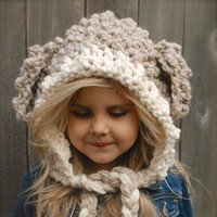 Wholesale Crochet Cartoon Beanies - Baby Girls Crochet Knit Beanies Kids Girls Knitting Cartoon Caps Babies Autumn Warm Hats 2017 Children Hair Accessories
