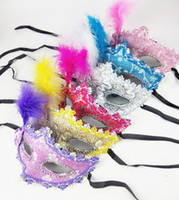 Wholesale Pink Lace Face Mask - Sexy Venetian lace feather eye mask beautiful princess party performances Halloween masquerade masks children kids Party Mask
