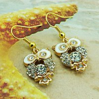 Wholesale Hot Selling Items Jewelry - Fashion Bohemian Colorful Owl White Crystal Rhinestones Allergy Free Fish Hooks Earrings Dangles Chandelier Jewelry Hot sell Items