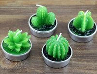 Wholesale Christmas Scent Candle - Cactus Scented Candles Mini Artificial Plants Home Interior Scent Candles Romantic Green Candle for Halloween Christmas Decorations