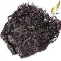teje la extensión al por mayor-Armadura brasileña del pelo sin procesar color natural Onda natural Extensión del pelo ondulado Trama doble 8 ~ 30pueces 2pcs / lot livraison gratuit Bella Hair