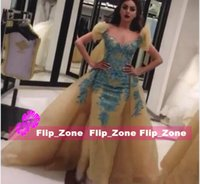 Wholesale Yellow Gold Gown Dresses - 2016 FOUAD SAKIS Gold Evening Dresses with Overskirt Off Shoulder Juliet Short Sleeves Blue Embroidery Dubai Celebrity Gowns MNM Couture