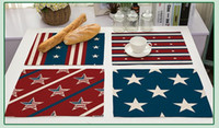 Wholesale america modern - Hot style in Europe and America the national flag placemat Cross-border sales cotton and linen art table mat