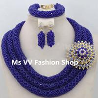 royal blue african jewelry set Australia - 2018 royal blue nigerian African Wedding Beads Jewelry Set Dubai Indian Wedding Beads Set Christmas Costume Jewelry Set Free Ship