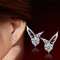 angle wings earrings stud achat en gros de-Angles Wings Boucles d'oreilles S925 Silver Sterling Ladies / Girls Boucles d'oreilles en cristal Boucles d'oreilles à la mode Bijoux pour femmes
