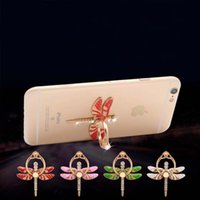 Wholesale Wholesale Diamond Ring Mounts - Universal Dragonfly Finger Ring Holder Phone Stand 360 Degree Diamond Cell Phone Holders Folding Mobile Phone Mount for Samsung iPhone 8 7
