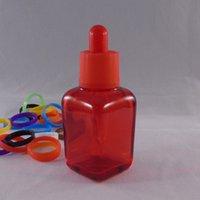 Wholesale Glass Label Printing - E juice liBottle E Liquid Glass 30ML Childproof Resistent Lid Square Transparent Red Bottle ,Silk Screen Print & Label E Liquid Glass Bottle