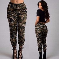Wholesale Women Plus Size Camouflage Pants - fashion new army green Camouflage pants plus size spring autumn women casual belt lacing pocket Beam feet trousers pencil pants capris