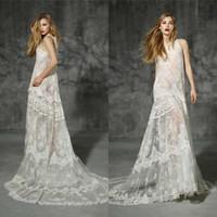 Wholesale Sexy Aline Wedding Dresses - 2016 A-line elegant Jewel bohemian aline princess gothic country fairy wedding dress lace perspective wedding dresses bride gowns QW823