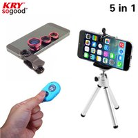 Others For iphone 4 4s 5 5c 5s 6 6s 6s plu... For lenovo a2010 a 319 a328 a5000 a... Wholesale-2016 New 5in1Camera Lens Kit Fisheye Len Wide Angle Len Macro Len Aluminum Tripod Bluetooth shutter for iPhone Samgung