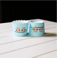Wholesale Cheap Blue Cupcake Holders - Free shipping blue owl cupcake case, muffin paper small cake cups tin liners, cheap cupcakes boxes holder supplies