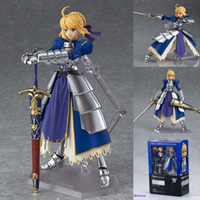 Wholesale Fate Saber Figure - Anime Fate stay Night Saber Figma 227 PVC Action Figure Collectible Model Toy 14cm free shipping in stock