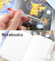 Wholesale Wholesale Pens Notepads - 3 Size Cartoon Poke Pikachu Notebook With A Ballpoint Pen Diary Planner Poke Stationery School Office Supply 100pcs B0548
