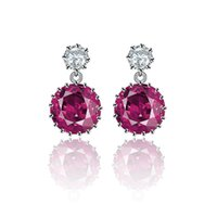 Wholesale Wholesalers Chandeliers Usa - S925 sterling silver earring with red cubic zirconia real rhodium plating high quality jewelley USA style fashion earring free shiping