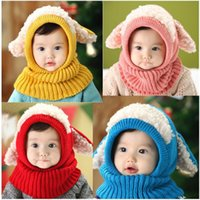 Wholesale Knit Bunny Ears Hat - Back to School Kids Winter Hats Wholesale Keep Warm Bunny Ears Crochet Cotton Baby Hat Knitting Photography Props