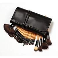 Wholesale 24 Brushes Pink - Professional 24 pcs Makeup Brushes Set Charming Pink Black Cosmetic Eyeshadow Brushes with leather pouch
