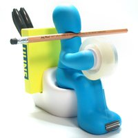 Großhandel - Lustige Toilette Closestool Form Aufbewahrungsbehälter Multifunktions Zakka Halter für Stift, Clip Tape Dispenser Memo Pad Home Decoration
