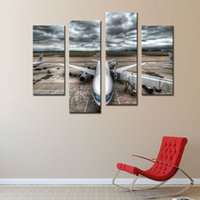 Wholesale Pictures Jets - Art - Vehicle Paintings Wall Art Passenger Jet Plane Flying Above Cloud 4 Panel Picture Print on Canvas for Modern Home Decoration