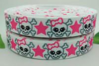 Wholesale Discount Bows Ribbons - hot 7 8'' discounts Skullcandy printed grosgrain ribbon bow diy party decoration OEM wholesale 22mm P289 M67342