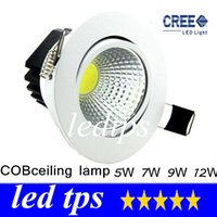 5W 7W 9W 12W Yes LED DHL cob 5W 7W 9W 12W Dimmable Led Ceiling Light Round White Shell Led Downlights Ultra Bright Led Cabinet Lamps AC85-265V CE ROHS