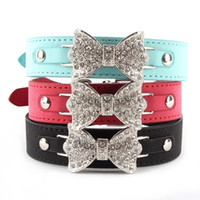 xs collar de gato al por mayor-Al por mayor-mejor precio para Collar de perro Bling Crystal Bow Leather Pet Collar Cachorro Gargantilla Gato Collar XS S M