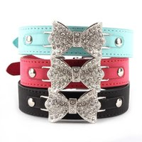 Wholesale Bling Personalized Cat Collar - Wholesale-best price for Dog Collar Bling Crystal Bow Leather Pet Collar Puppy Choker Cat Necklace XS S M