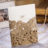 ücretsiz yazdırılabilir dantel davetiyeleri toptan satış-Lazer Kesim Düğün Davetiyeleri Kart Dantel Çiçek Desen Champange Altın Düğün Kartı Ücretsiz Yazdırılabilir Düğün CW3109 Şekeri