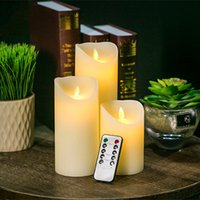 3pcs Moving Wick Dancing Flame Wax Pillar Ensemble de bougies LED avec télécommande Minuterie Dimmer Christmas Wedding Party Decor