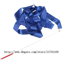 Wholesale Girl Set Ribbon Blue - Fitness Ribbon Wand Dance Ballet Ribbon Stick Rhythmic Gymnastics Art Gymnastic Ballet Streamer Twirling Rod Blue