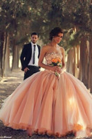 Wholesale Strapless Peach Long Dress - 2016 New Peach Strapless Ball Gown Quinceanera Dresses Pearls Beaded Rhinestones Pageant Dresses Long Backless Basque Waist Arabic Prom Gown