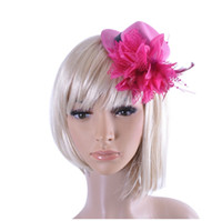 Wholesale African Feather Hat - Women Hair Jewelry Party Headwear Hair Clip Fashion Barrette Hat Feather Bride Headband Girl Gift acessorio para cabelo