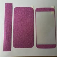 bling aufkleber haut für iphone großhandel-Ganzkörper-Glitter bling Displayschutzfolie Sparkle Shimmer ganzen Film Haut Shinny Aufkleber für iPhone 4 4S SE 5 5S 6 6s 6 plus iPhone 7 plus