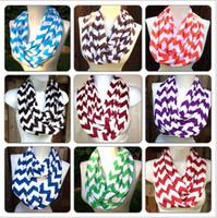 Wholesale Knit Chevron Scarves Wholesale - Chevron Zig Zag Stripe Jersey Knit Infinity Cowl Scarf Cotton Scarves knit striped scarf cotton neckerchief 180*25cm free shipping