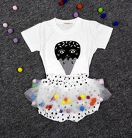 Großhandel INS Mädchen Kinder Baby Kleidung Kinder Outfits Cartoon T-Shirts Dot Tutu Rock Sets Mini Rock Prinzessin Röcke Baby Dancewear