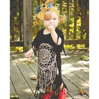 Wholesale Dresses Punk Wholesale - Summer Baby Girls Tassels Dress Kids Short Sleeve Dresses Kids Punk Style Dress Children Clothing Fashion Girl Dress
