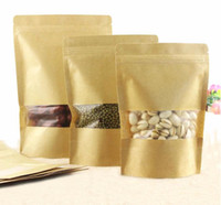 Wholesale Wholesale Food Powders - nice quality Kraft paper bag Stand up pouch with transparent window for dried food grains tea packaging nuts bag powder bag 500pcs lot