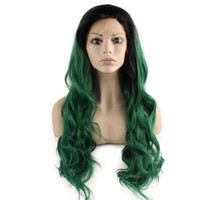 Wholesale Lace Kanekalon Wig - SF5 Front Lace Wig Ombre Dark Root Green Wig, Ombre Synthetic Wavy Wig Green Stylish Kanekalon Party Wig Natural Hairline