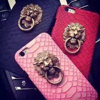 Wholesale Iphone Leather Snake - 3D Ultra Thin Lion Head Stand Strong Protection CoverSexy Snake Skin Phone Back Case For Apple iPhone 5 5S 5G SE