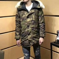 Wholesale Long Wolf Hat - 2017 AW New Men Down Coat Luxury Wolf Fur Collar Men Down Jacket Top Quality Goos Brand Long Parkas Outwear