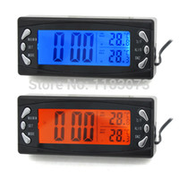 Wholesale Outside Thermometers - Car Inside And Outside Thermometer LCD Screen Car Thermometer Clock Calendar Voltage Monitor Blue and Orange Backlight Free Shipping