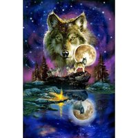 Wholesale Blue Star Night Light - Star night wolves DIY Diamond Painting Diamond Mosaic Cross Stitch Embroidery Home Wall Decoration Gift Handmade (Free Shipping)