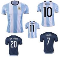Wholesale El Flashing Shirts - 2016 Argentina Jerseys Soccer Uniforms 16 17 Home White 10 MESSI Argentine Football Shirt 7 DI MARIA 11 AGUERO 20 KUN AGUERO 22 LAVEZZI