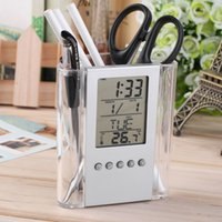 Wholesale Led Pencils Free Shipping - Free shipping NEW Digital Desk Pen Pencil Holder LCD Alarm Clock Thermometer&Calendar Display hot selling