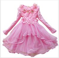 menina flor vestidos de estilo coreano venda por atacado-2016 Outono Nova Moda Menina Princesa Vestido Crianças Manga Comprida Flor Vestidos Estilo Coreano Bonito Do Bebê Meninas Lace Tulle Vestido Crianças Vestidos