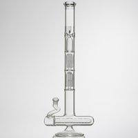 "Wholesale Arm Guards - high quality Glass bongs 19"" two function round liner perc with two layers 6 arm perc and splash guard oil rigs"