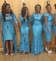 estilo de renda azul de áfrica venda por atacado-Árabe céu azul vestidos de dama de honra quente Design 3 estilos África do Sul vestidos de dama de honra vestidos formais sereia conversível vestidos de noite